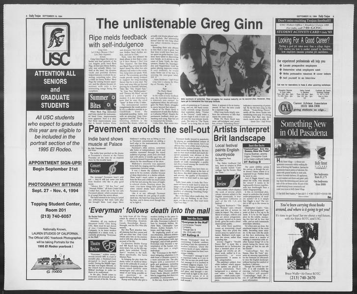 Daily Trojan, Vol. 123, No. 12, September 19, 1994