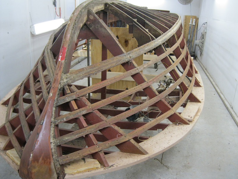 Starboard side planking removed.