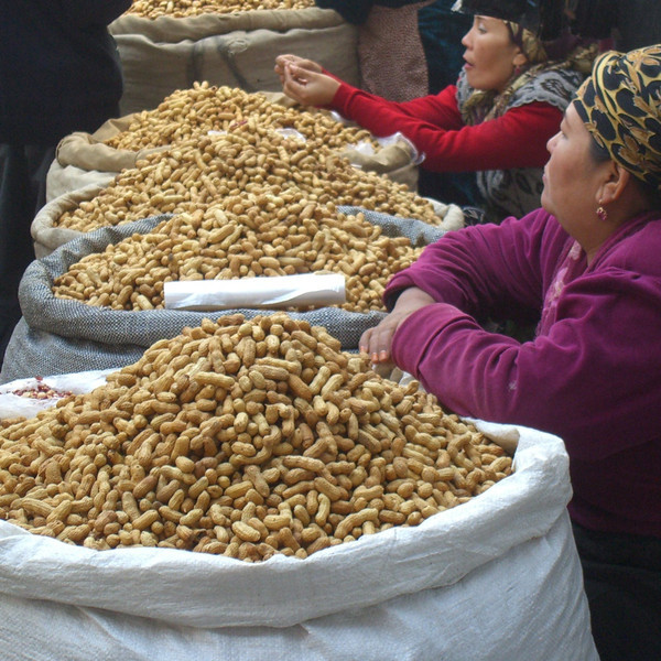 Sacks of Nuts at Osh Market, Kyrgyzstan