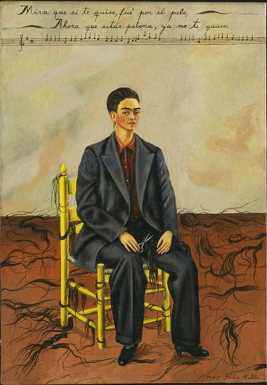 . Self Portrait with Cropped Hair, Frida Kahlo, 1940, oil on canvas, The Museum of Modern Art, New York, Gift of Edgar Kaufmann, Jr. Museum of Modern Art/Licensed by SCALA/Art Resource, NY