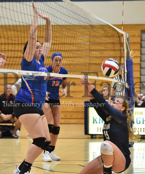 Knoch #15 Kerrie Fitzpatrick saves the ball against Armstrong in a  WPIAL 3A girls volleyball game at Knoch high school on Monday  September 17 , 2018..(Justin Guido photo)