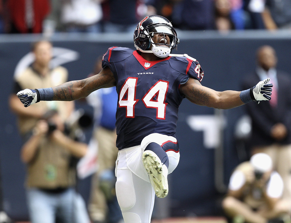 . Ben Tate #44 of the Houston Texans celebrates afte scoring on a 7 yard run in the first quarter against the New England Patriots at Reliant Stadium on December 1, 2013 in Houston, Texas.  (Photo by Bob Levey/Getty Images)