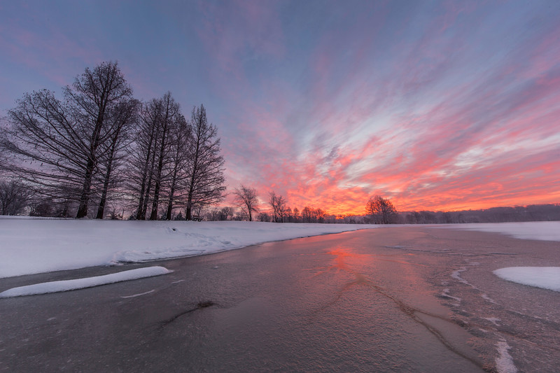 Sunrise on the Frozen Lake