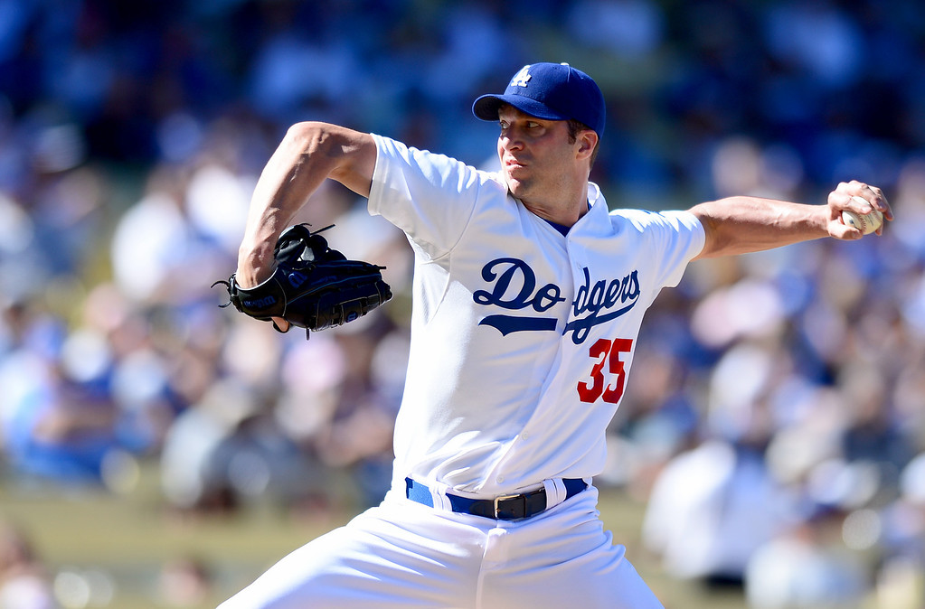 . Dodgers\' Chris Capuano #35 pitches to the Rockies as the Rockies defeat the Dodgers 2-1 at Dodger Stadium during their final game of the regular season Sunday, September 29, 2013. (Photo by Sarah Reingewirtz/Pasadena Star-News)