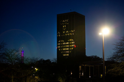 Eastman Tower lit up for One UAlbany