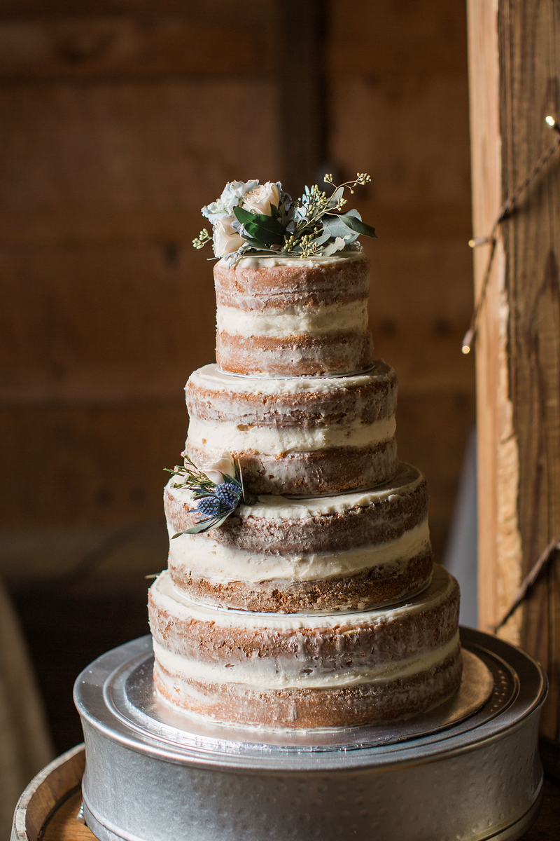 Naked cake from Meg and Kyle's Bluemont Vineyards wedding. Photos by the best Washington DC wedding photographer Jalapeno Photography.