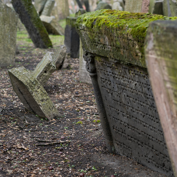 Moss covered tombstone in Old Jewish Cemetery, Prague, Czech Republic