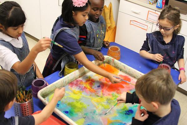 Kindergarten - Art from Japan - Suminagashi (Ink Floating) and Gyotaku (Fish Prints)