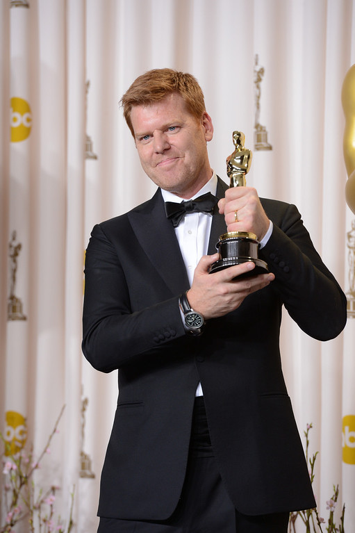 ". John Kahrs accepts the award for best animated short film for ""Paperman\"" backstage at the 85th Academy Awards at the Dolby Theatre in Los Angeles, California on Sunday Feb. 24, 2013 ( David Crane, staff photographer)"
