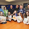 Pictured are the winners of an SCA Packaging Health and Safety Art Competition, Shea Magee, Rebekah Haugh, Brendan Heaney, Niamh Bradley and Grainne McNally with their Parents and Raymond Wilson the Health and safety Manager at SCA Packaging. 07W15N17