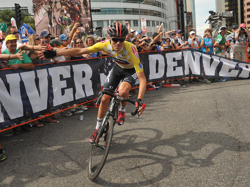 . Tejay Van Garderen of BMC Racing Team celebrates winning the 2013 USA Pro Challenge race with fans in Denver on August 25, 2013. (Photo by Hyoung Chang/The Denver Post)