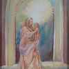Madonna of the Rock<br /> by Sue Kemp<br /> watercolor, from tomb of Raphael