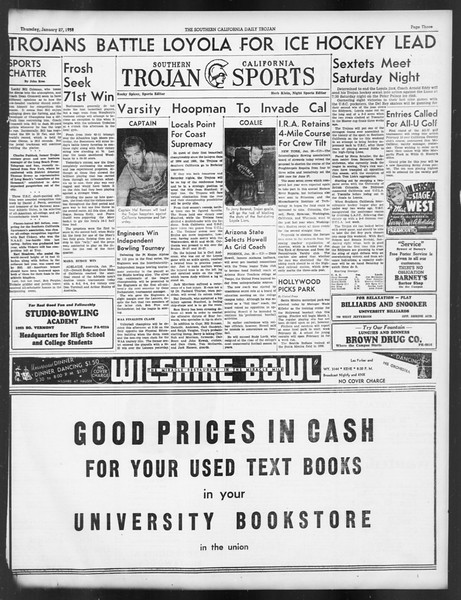 Daily Trojan, Vol. 29, No. 76, January 27, 1938