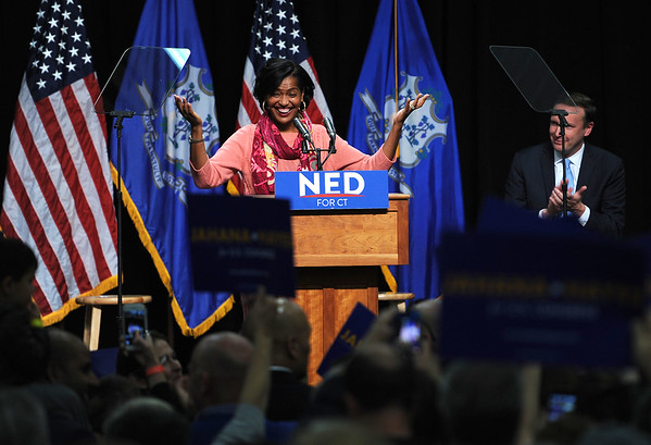 10/26/2018 Mike Orazzi   Staff Connecticut's 5th congressional district candidate Jahana Hayes speaks before former Vice President Joe Biden's visit to campaign for fellow democrats in Hartford on Friday.