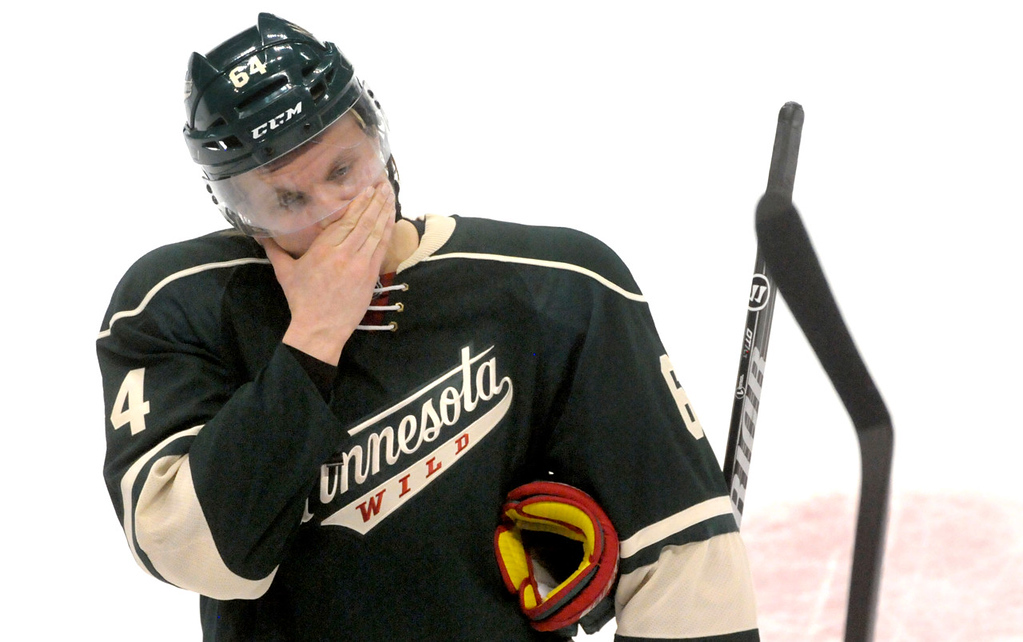 . Minnesota\'s Mikael Granlund tries to conceal his emotions after the Wild lost in overtime to the Blackhawks, 2-1.   (Pioneer Press: Sherri LaRose-Chiglo)