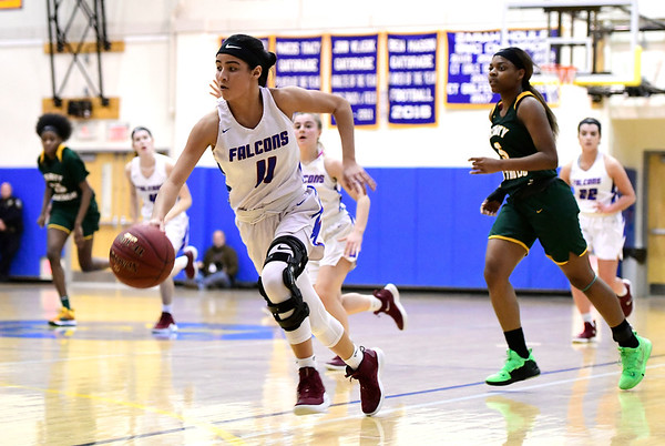 3/8/2019 Mike Orazzi   Staff St. Paul Catholic High Schools Janessa Gonzalez (11) during the Class S Semifinal girls basketball game with Trinity Catholic at Newtown High School Friday night in Newtown.