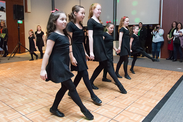 03/15/19 Wesley Bunnell | Staff Dancers including Elyse Gombos, 2nd L, and Katelyn Hall, 3rd L, from SRL Irish Dance Academy helped to celebrate Irish Night at the New Britain Museum of American Art on Friday March 15.