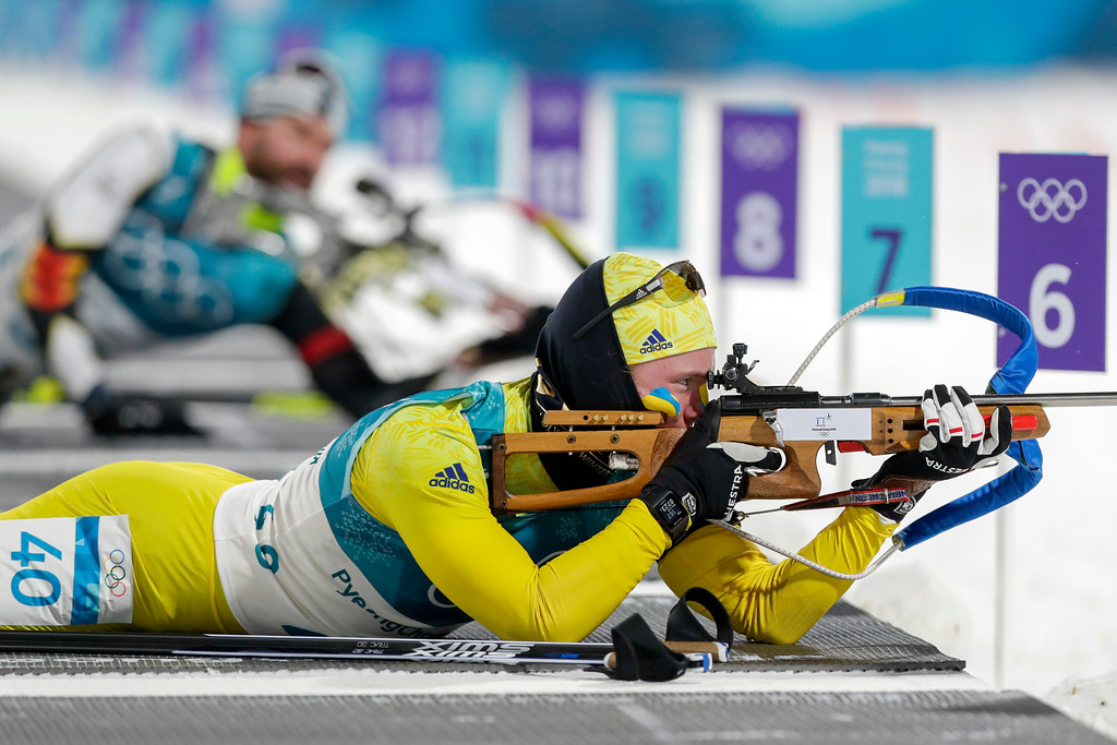. Sebastian Samuelsson, of Sweden, shoots from the prone position during the men\'s 10-kilometer biathlon sprint at the 2018 Winter Olympics in Pyeongchang, South Korea, Sunday, Feb. 11, 2018. (AP Photo/Andrew Medichini)