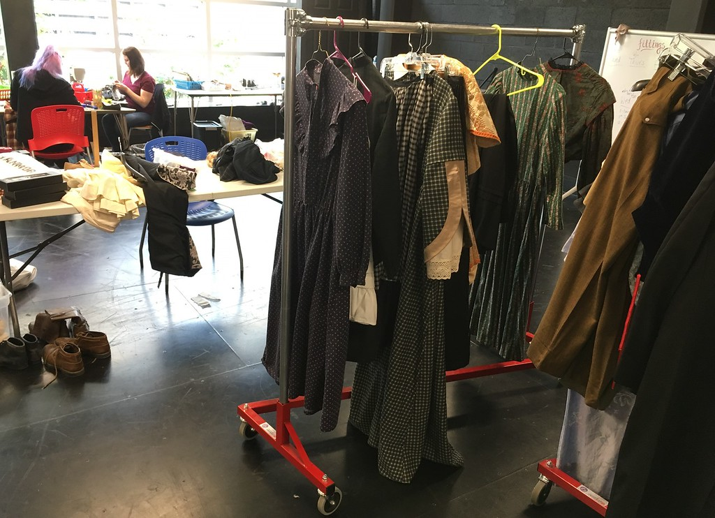 ". Richard Payerchin � The Morning Journal <br> A rack of costumes is ready for ""Little Women,\"" the play that opened the Oberlin Summer Theater Festival. The festival has three free plays running from June to August each year."