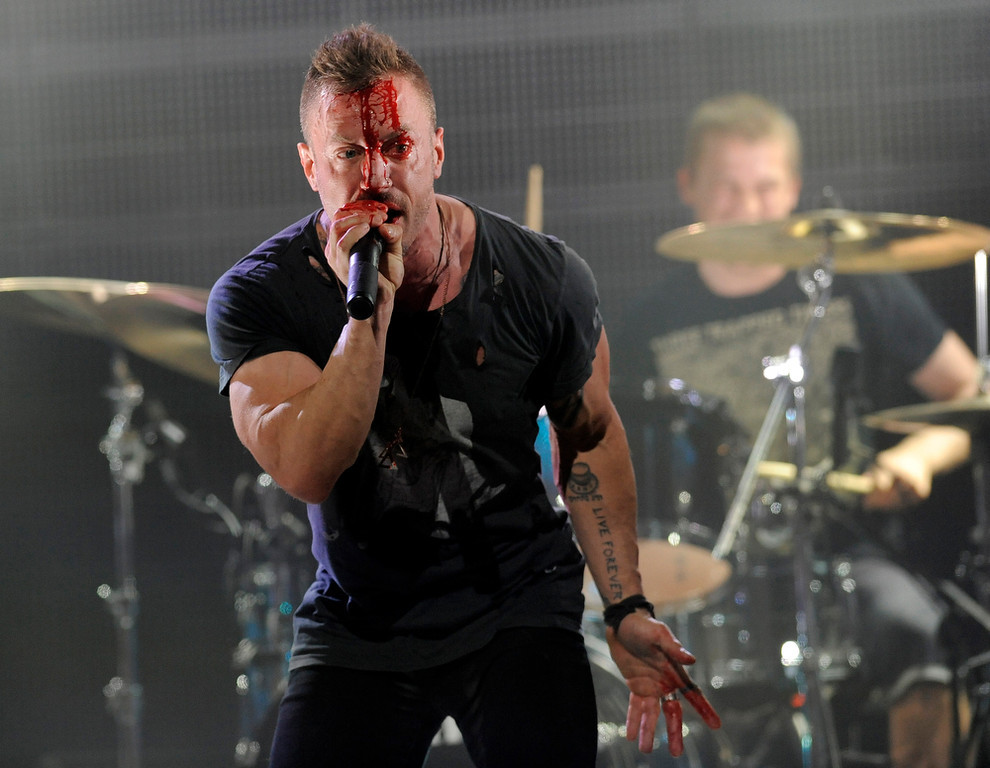 . Greg Puciato of The Dillinger Escape Plan performs at the 2013 Revolver Golden Gods Award Show at Club Nokia on Thursday, May 2, 2013 in Los Angeles. (Photo by Chris Pizzello/Invision/AP)