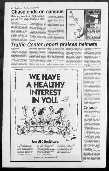 Daily Trojan, Vol. 117, No. 1, January 14, 1992