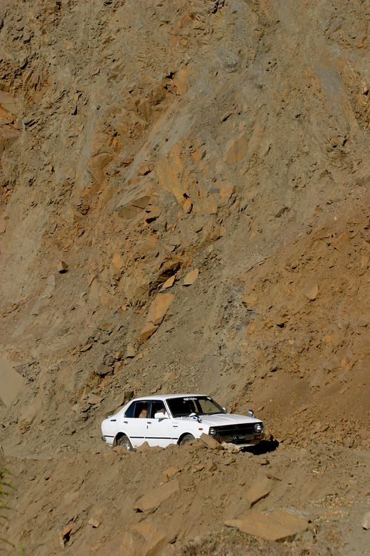 The road has been wiped out in many places by landslides.  The Army has done a fantastic job in trying to clear the path.