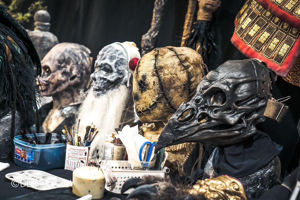 Halloween Horror Nights 7 Behind the Scenes: The Making of the Midnight Man, Iconic Character for HEX haunted house - Masks on display