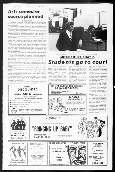 Daily Trojan, Vol. 62, No. 85, March 10, 1971