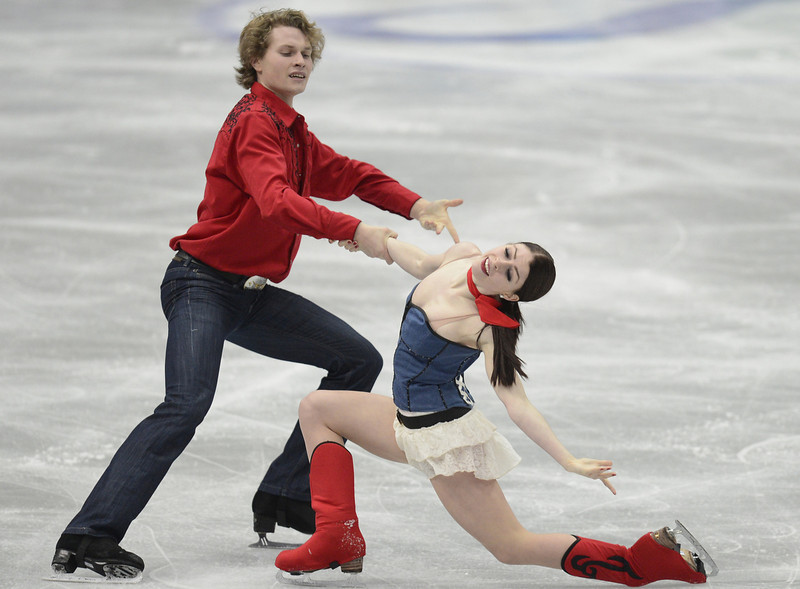. Nicole Orford and Thomas Williams of Canada skate in the Ice Dance Short Dance during day one of the ISU Four Continents Figure Skating Championships at Osaka Municipal Central Gymnasium on February 8, 2013 in Osaka, Japan.  (Photo by Atsushi Tomura/Getty Images)