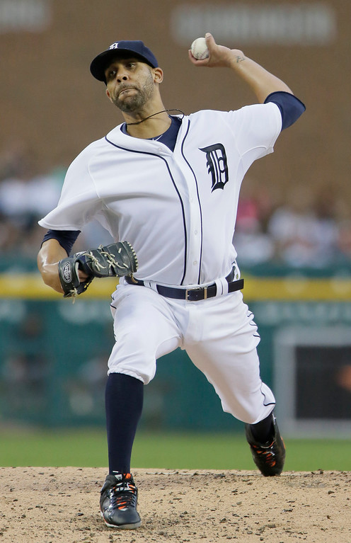 . Detroit Tigers pitcher David Price delivers against the Cleveland Indians during the second inning of a baseball game Friday, June 12, 2015, in Detroit. (AP Photo/Duane Burleson)
