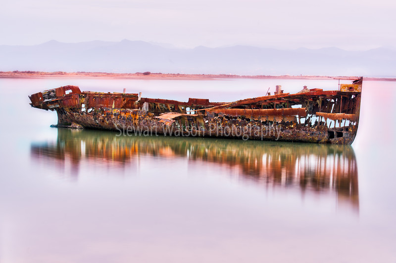 The wreck of the Janie Seddon at high tide on Motueka's foreshore