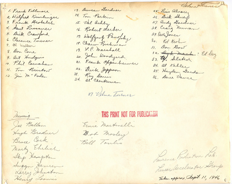 Names on back of photo of the Linear Accelerator Group. Names written by Velma Turner.