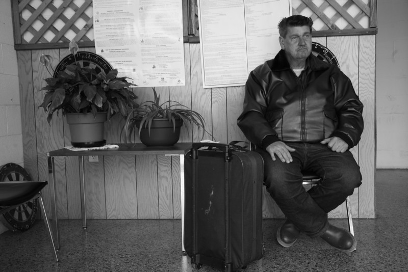 Minor James Miller Jr. waits for a bus to Missouri at the Bus Depot in Mattoon, Illinois on March 3, 2009. (Jay Grabiec)