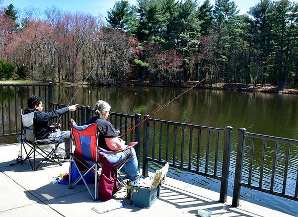 4/17/2019 Mike Orazzi | Staff Robin Hapgood and her grandson Joshua,13, while fishing at Malones Pond in Pine Lake Park in Bristol on Wednesday afternoon.