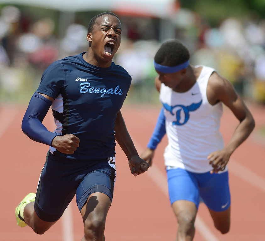 . Maribeth Joeright/MJoeright@News-Herald.com <p> Benedictine\'s Marquee Montgomery reacts as he wins the state championship in the Division II boys 200 meter dash during the state track and field championship meet in Columbus,  June 7, 2014.
