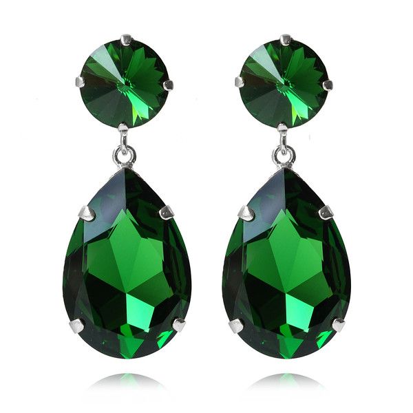 Perfect Drop Earrings / Dark Moss Green / Rhodium
