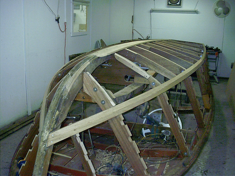 STB side with new frames keel and chine faired and ready for bottom skin