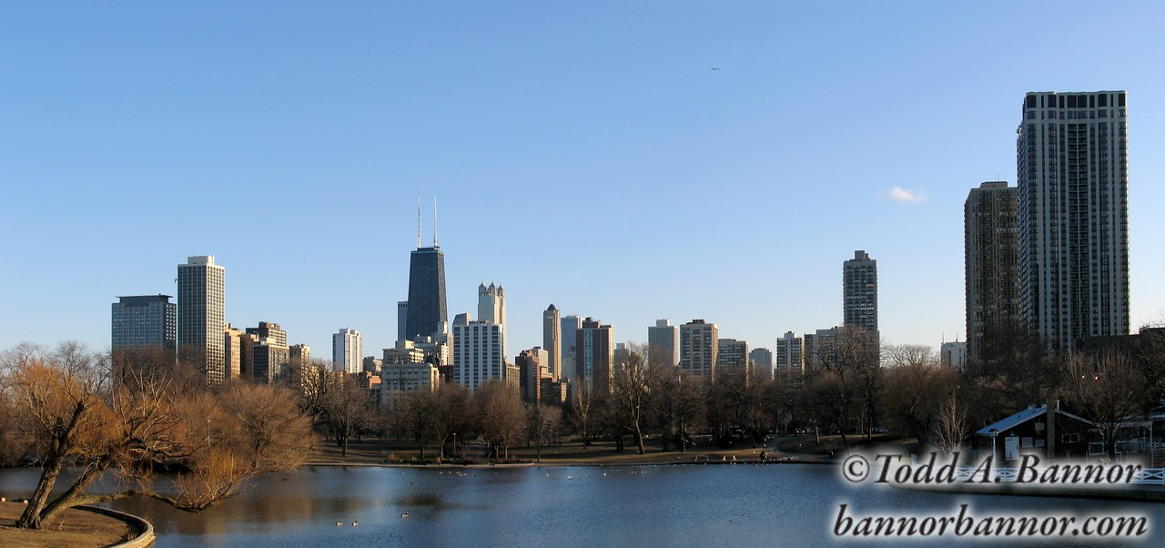 View of downtown Chicago from Lincoln Park on a late winter day. Panorama.