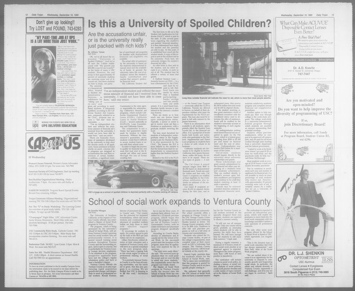 Daily Trojan, Vol. 113, No. 12, September 19, 1990