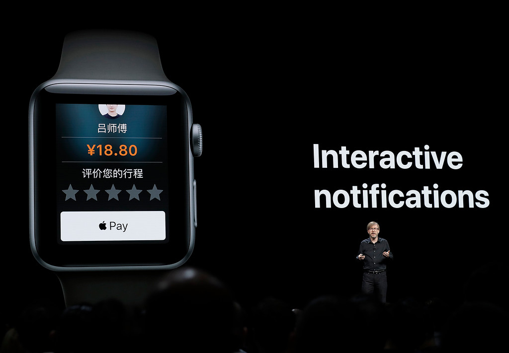 . Kevin Lynch, Apple\'s vice president of technology, speaks about the Apple Watch during an announcement of new products at the Apple Worldwide Developers Conference Monday, June 4, 2018, in San Jose, Calif. (AP Photo/Marcio Jose Sanchez)