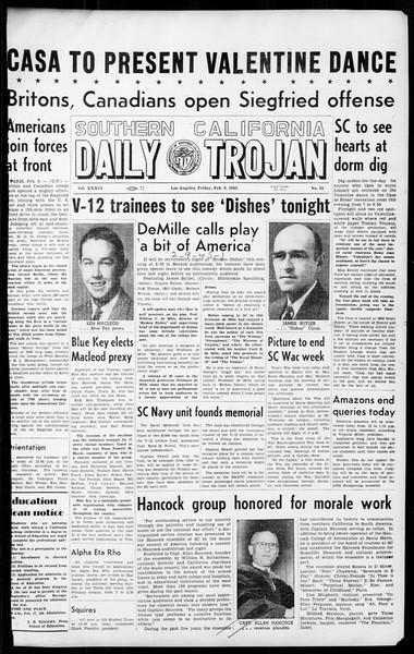 Daily Trojan, Vol. 36, No. 65, February 09, 1945