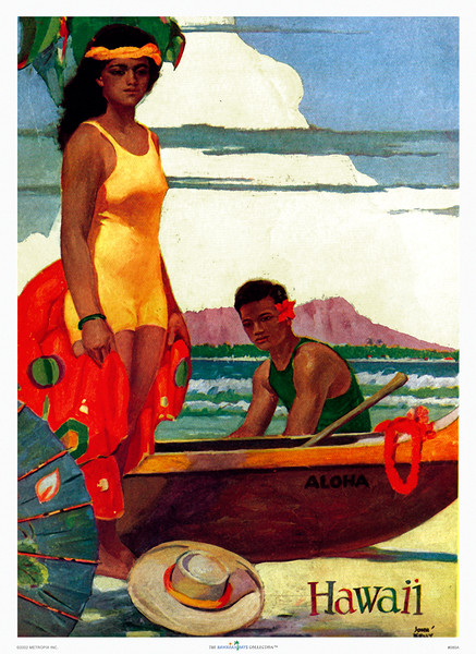 080: John Kelly: 'Hawaii.' - Hawaii Tourist Bureau poster from circa 1950. John Kelly's vintage Hawaii islands' prints and posters have been made famous by other fine John Kelly Hawaiian images, like those with his favorite model Marion, as dancer of Hawaiian hula, as well as others that have made John Kelly posters highly collectible, like this classic Waikiki poster with Hawaii Tourist Bureau illustration of a Hawaiian wahine in front of an outrigger canoe with Diamond Head in the distance. PROOF watermark will not appear on your print.