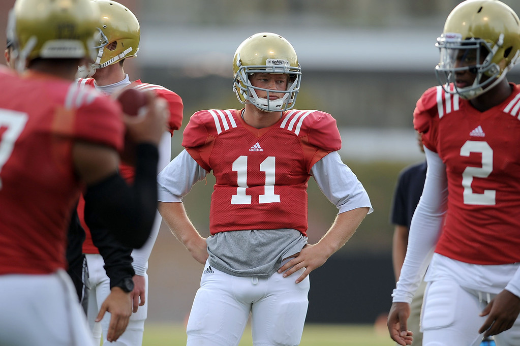 . UCLA quarterback Jerry Neuheisel looks on during practice April 9, 2014 in Westwood, CA.(Andy Holzman/Los Angeles Daily News)