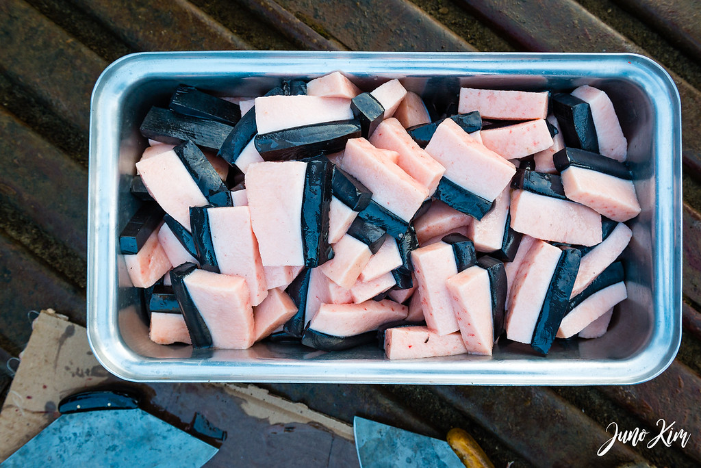 Ready to cook harvested whale blubber and skin