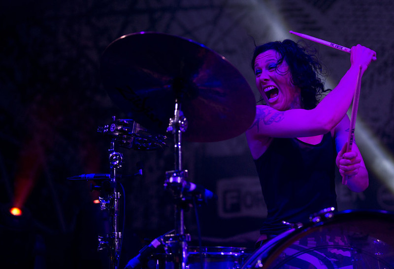 . Matt and Kim performs at the Fader Fort stage during SXSW early in the morning on Wednesday, March 13, 2013. (AP Photo/Austin American-Statesman, Ricardo B. Brazziell)