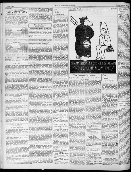 Daily Trojan, Vol. 25, No. 67, January 19, 1934