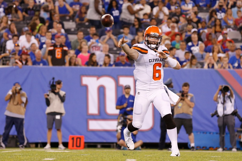 . Cleveland Browns quarterback Baker Mayfield (6) throws a pass during the second half of a preseason NFL football game against the New York Giants Thursday, Aug. 9, 2018, in East Rutherford, N.J. (AP Photo/Adam Hunger)