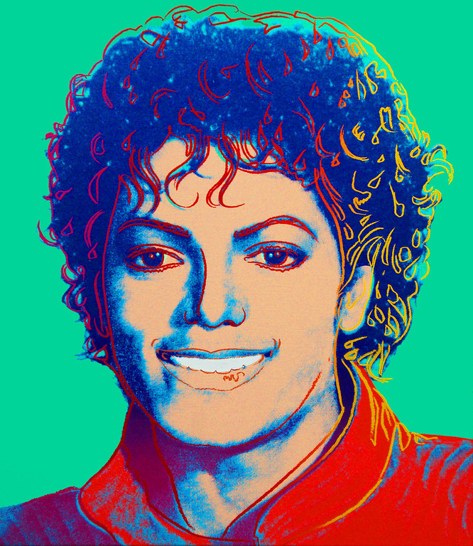 """. This photo provided by the Vered Gallery in East Hampton, N.Y., shows Andy Warhol\'s \""""Michael Jackson 1984,\"""" a 30-by-26-inch painting of the pop star in a red jacket from his 1980s \""""Thriller\"""" days.  (AP Photo/Vered Gallery)"""