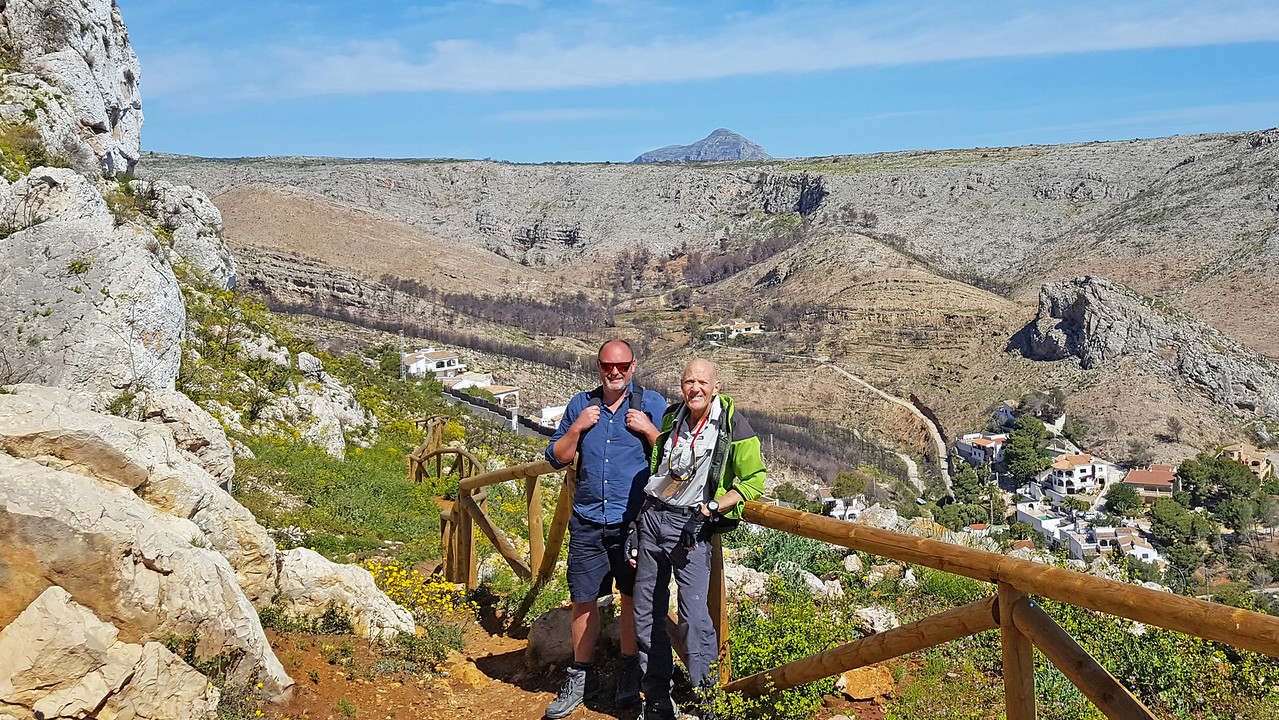 Rob and Vic on the Granadella to Cumbre hike overlooking Granadella village and beach