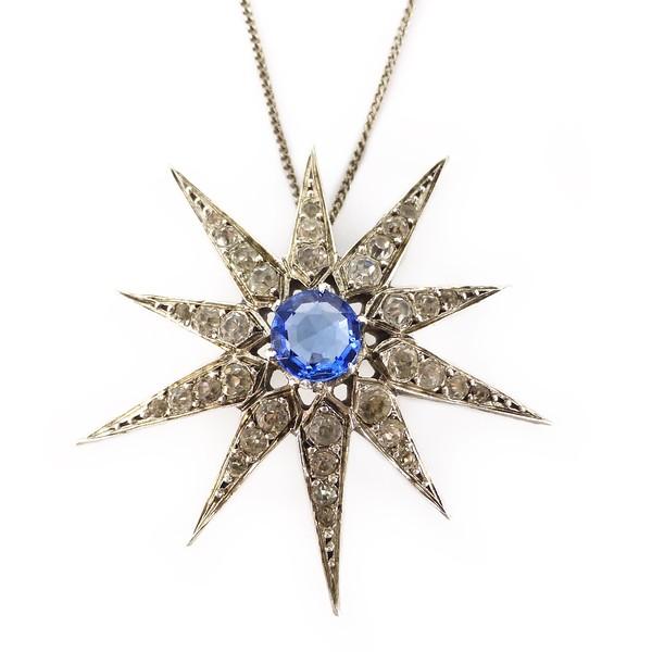 Antique Art Deco Silver Paste Glass Starburst Pendant Necklace